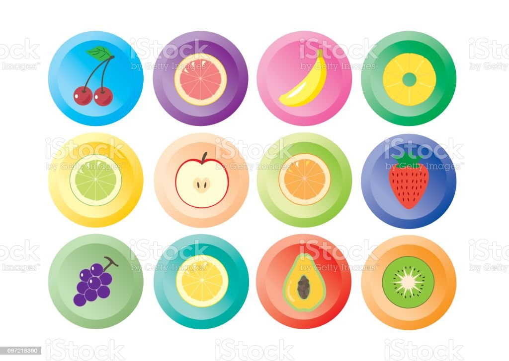Fruit icon 12 colors vector art illustration