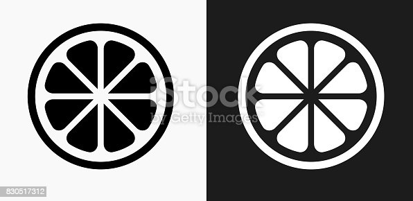 Fruit Icon on Black and White Vector Backgrounds. This vector illustration includes two variations of the icon one in black on a light background on the left and another version in white on a dark background positioned on the right. The vector icon is simple yet elegant and can be used in a variety of ways including website or mobile application icon. This royalty free image is 100% vector based and all design elements can be scaled to any size.