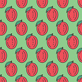Repeating fresh fruit background. Thin line icon with flat color