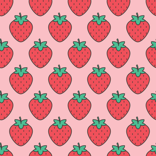 Fruit Icon Seamless Pattern, Strawberry vector art illustration