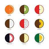 Fruit icon set flat design cut in half isolated on white background, vector illustration