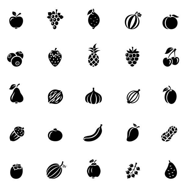 Fruit Icon Set Fruit Icon Set berry fruit stock illustrations