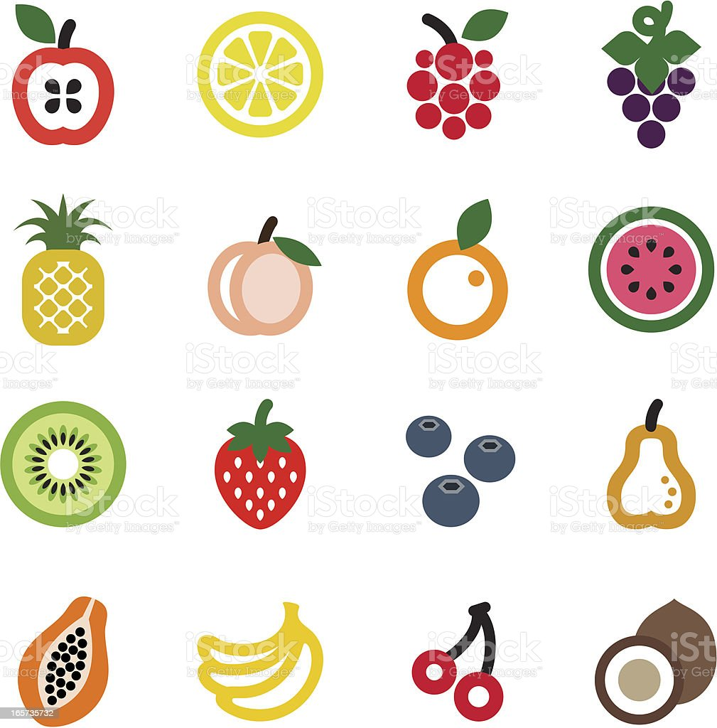 fruit icon set vector art illustration