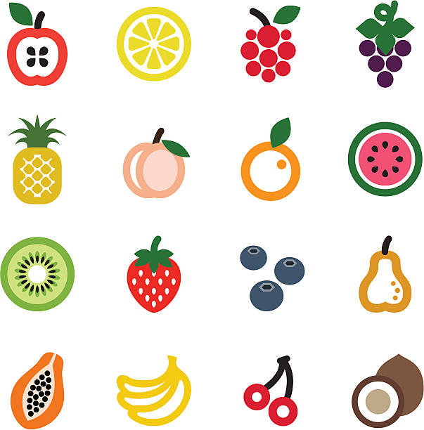 fruit icon set - fruit icon stock illustrations, clip art, cartoons, & icons
