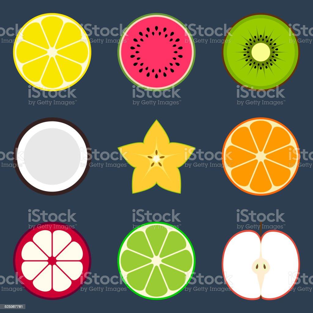 Fruit Icon Set vector art illustration