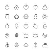 Fruit Icon Thin Line Series Vector EPS File.