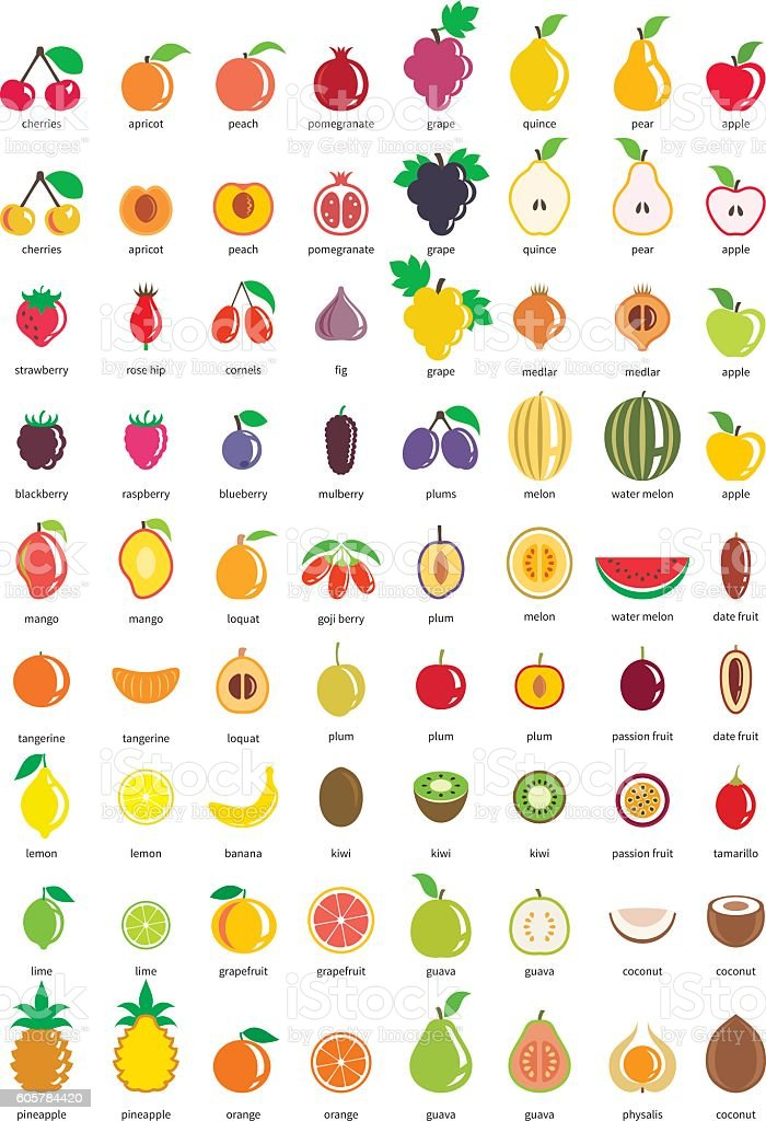 Fruit icons – big set of seventy-two vector icons vector art illustration
