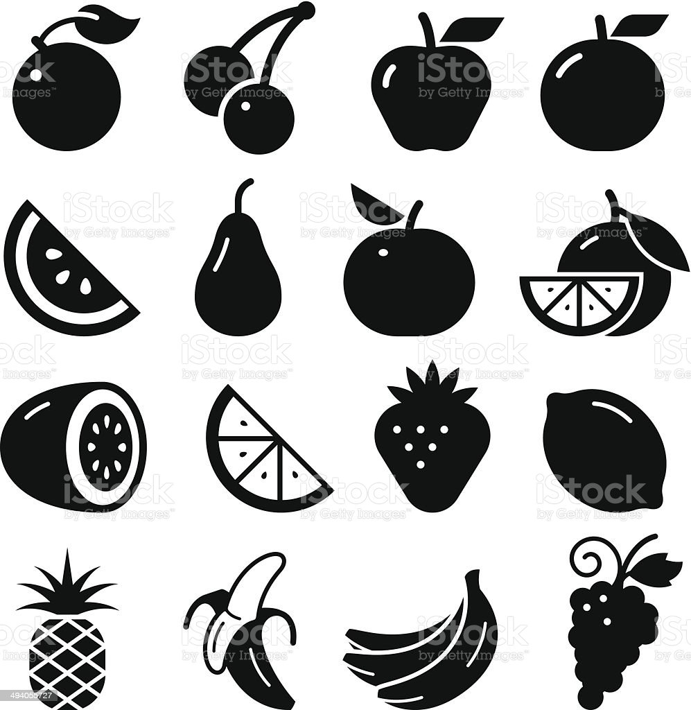 Fruit Icons - Black Series vector art illustration