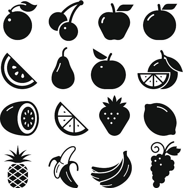 Fruit Icons - Black Series Fruits icon set. Professional vector icons for your print project or Web site. See more in this series.  fruit silhouettes stock illustrations