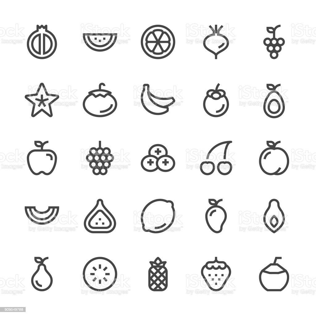 Fruit Icons - MediumX Line vector art illustration