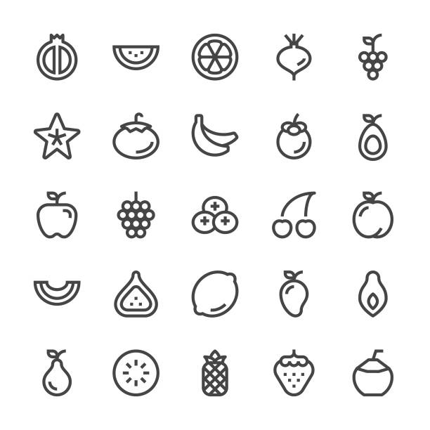 fruit icons - mediumx line - fruit icon stock illustrations, clip art, cartoons, & icons