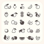 Fruit icons set, EPS10, Don't use transparency.