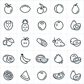 A set of fruit icons. The icons include an apple, lemon, lime, cherries, peach, pear, strawberry, pineapple, raspberry, orange, avocado, blueberries, cucumber, grapes, cantaloupe, honeydew, bananas, watermelon, pomegranate, coconut, nectarine and papaya.