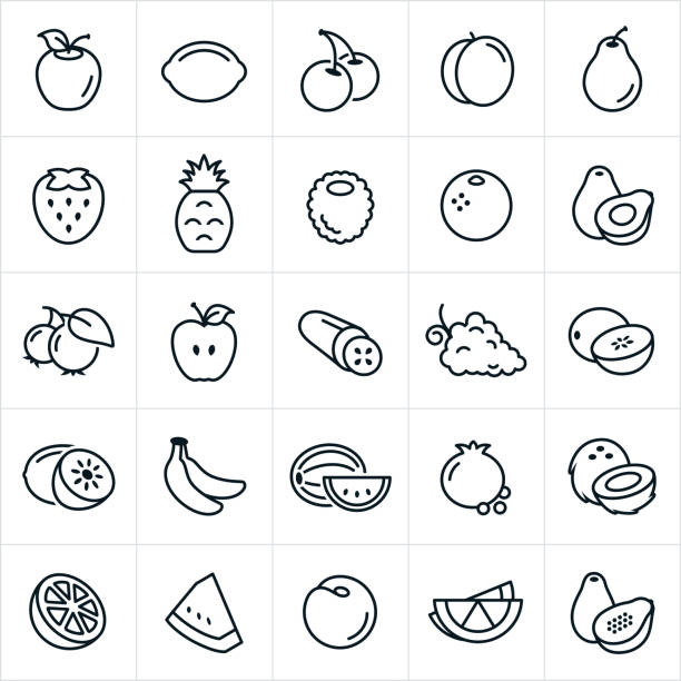 Fruit Icons A set of fruit icons. The icons include an apple, lemon, lime, cherries, peach, pear, strawberry, pineapple, raspberry, orange, avocado, blueberries, cucumber, grapes, cantaloupe, honeydew, bananas, watermelon, pomegranate, coconut, nectarine and papaya. avocado stock illustrations