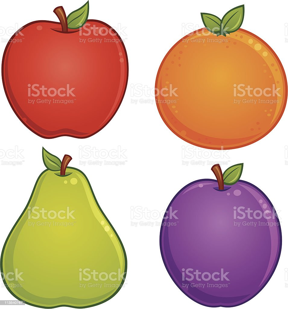 Fruit Icons vector art illustration