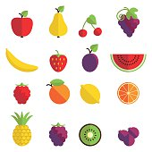 Set of 16 fruit icons in flat design.