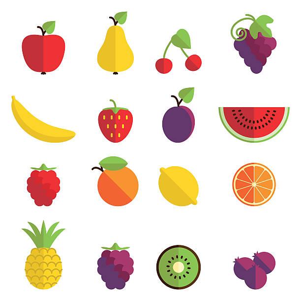 illustrations, cliparts, dessins animés et icônes de icônes de fruits - fruit