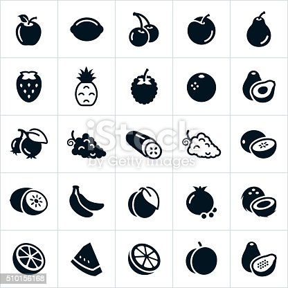 An icon set of several different types of fruit. The icons include common fruits and include an apple, lemon, cherries, plum, pear, strawberry, pineapple, raspberry, orange, avocado, blue berries, grapes, cucumber, cantaloupe, honey dew, kiwi, bananas, peach, pomegranate, coconut, lime, watermelon, grapefruit, apricot and papaya.