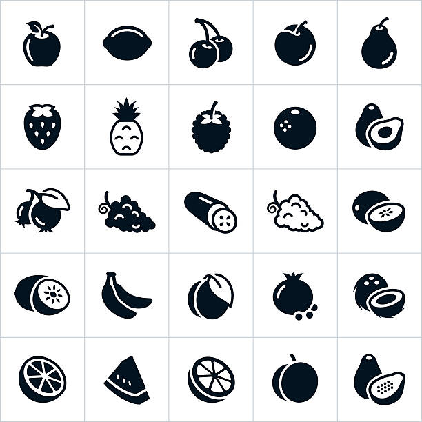 Fruit Icons An icon set of several different types of fruit. The icons include common fruits and include an apple, lemon, cherries, plum, pear, strawberry, pineapple, raspberry, orange, avocado, blue berries, grapes, cucumber, cantaloupe, honey dew, kiwi, bananas, peach, pomegranate, coconut, lime, watermelon, grapefruit, apricot and papaya. avocado stock illustrations