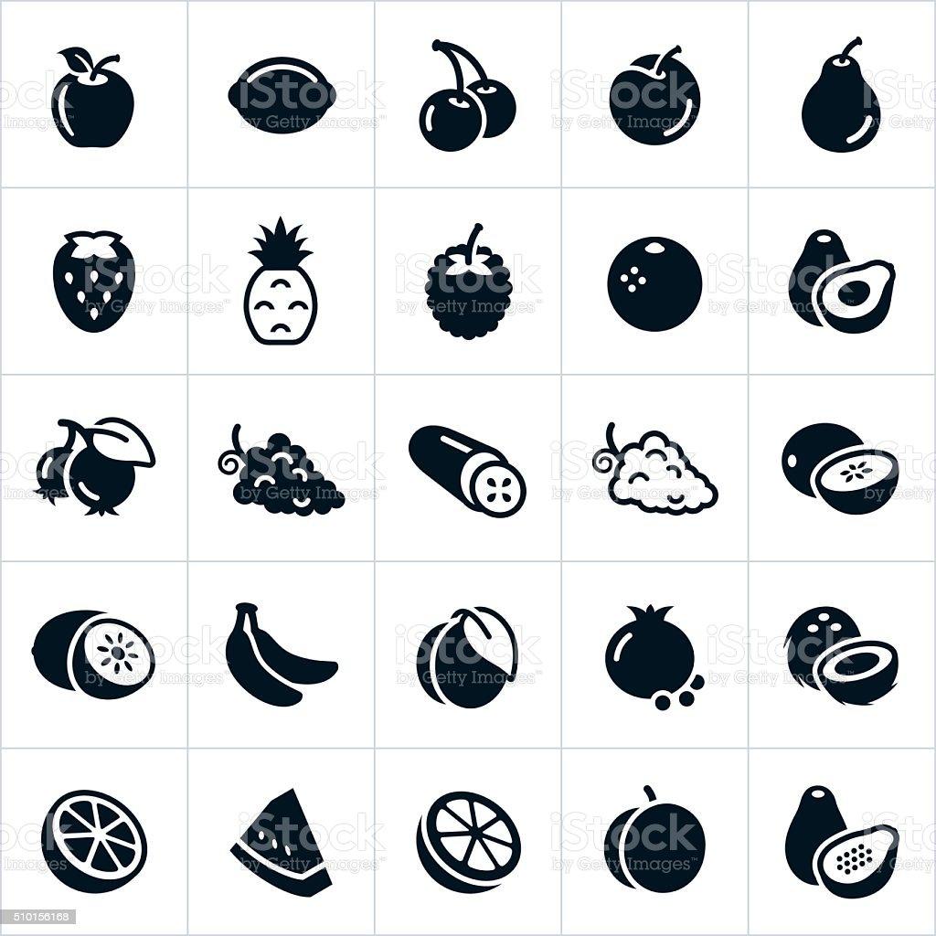 Iconos de frutas - ilustración de arte vectorial