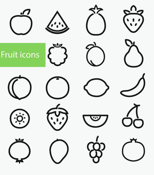 ilustrações, clipart, desenhos animados e ícones de ícones de frutas - fruit salad