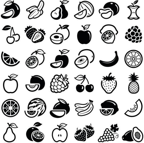 fruit icons - fruit stock illustrations, clip art, cartoons, & icons