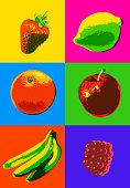 Posterized or Pop Art styled Fruit, Apple, orange, strawberry, raspberry, lemon, peach,08/09/2019