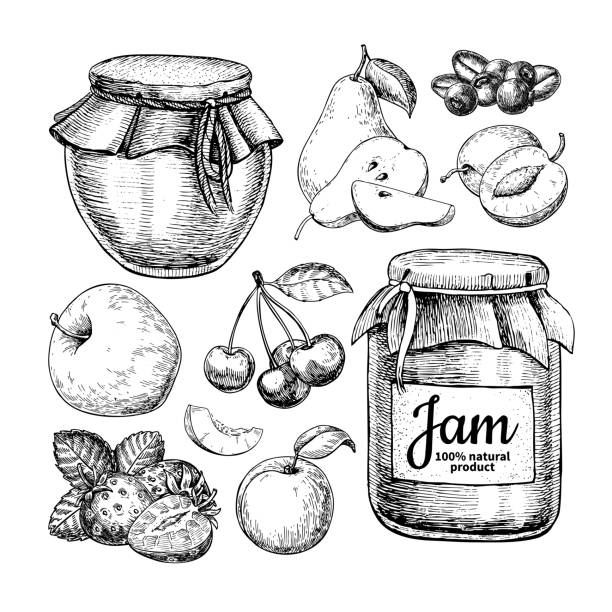 ilustrações de stock, clip art, desenhos animados e ícones de fruit jam glass jar vector drawing. jelly and marmalade with strawberry, cherry, blueberry, apple, pear, apricot, plum. - jam jar