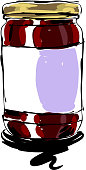 drawing of Fruit jam Jar, Elements are grouped.contains eps10 and high resolution jpeg.