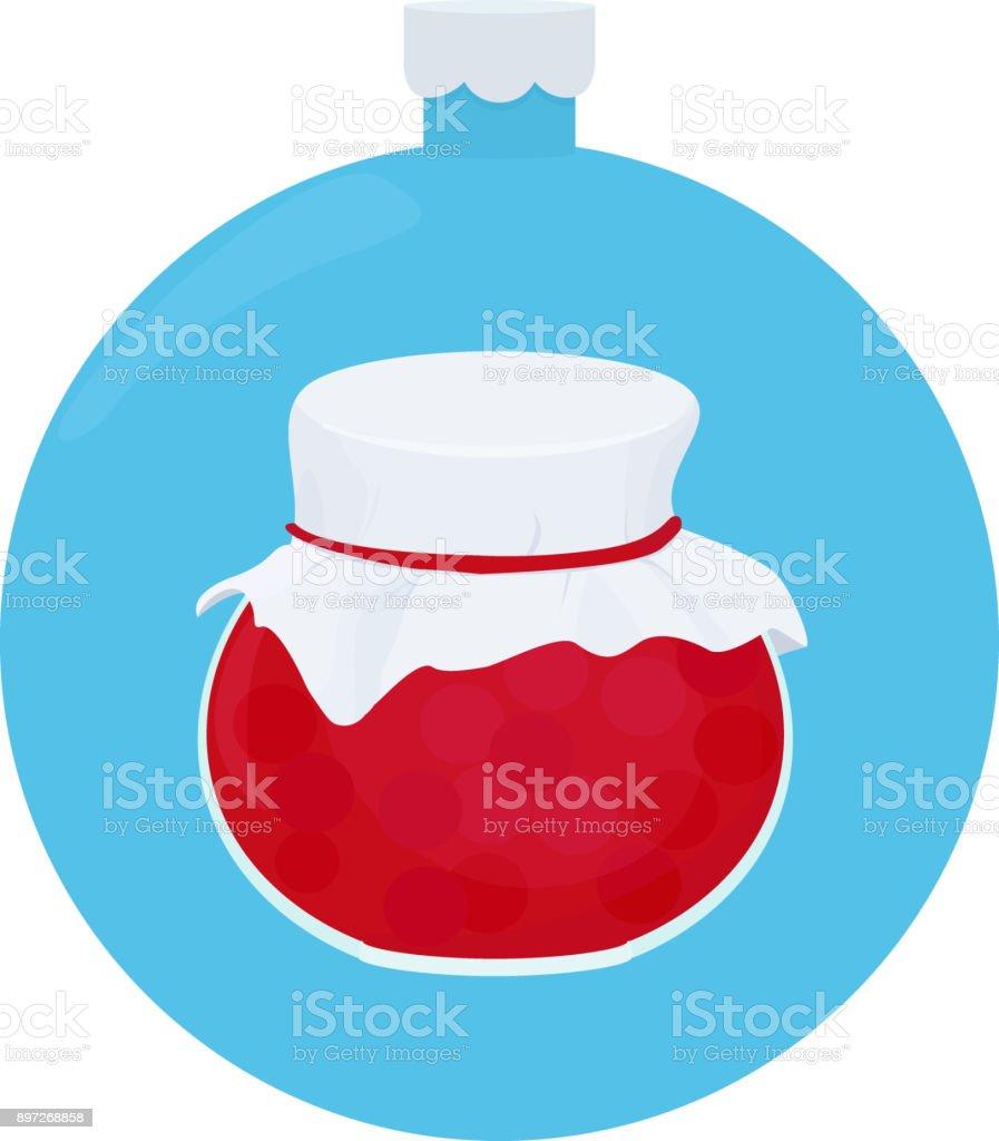 Frutas geleia pote vidro na bola de Natal azul - ilustração de arte em vetor