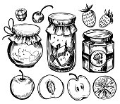 Fruit jam jar with berries and fruits. Hand drawn sketch illustration converted to vector