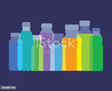 Colourful overlapping silhouettes of fruit juices bottles. EPS10 file, best in RGB.