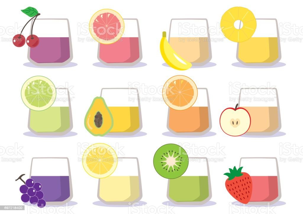 Fruit juice - cup 12 types vector art illustration