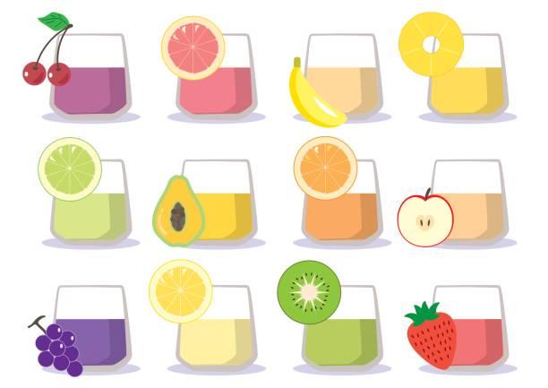 Fruchtsaft - Tasse 12 Arten – Vektorgrafik
