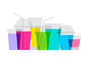 Colourful overlapping silhouettes of fruit juices drinks. EPS10 file, best in RGB, CS5 version in zip