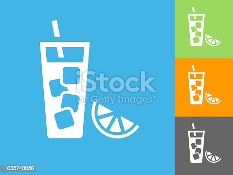 Fruit Juice Flat Icon on Blue Background. The icon is depicted on Blue Background. There are three more background color variations included in this file. The icon is rendered in white color and the background is blue.