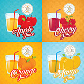 Fruit juice illustration. Retro poster, vector label illustration. Vintage advertisement with fruit and glass