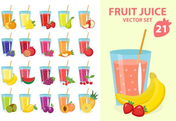 bildbanksillustrationer, clip art samt tecknat material och ikoner med fruit juice in glass, vector illustration set. fresh juices icon - smoothie