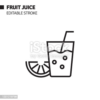 istock Fruit Juice Line Icon, Outline Vector Symbol Illustration. Pixel Perfect, Editable Stroke. 1201219798