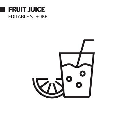 Fruit Juice Line Icon, Outline Vector Symbol Illustration. Pixel Perfect, Editable Stroke.