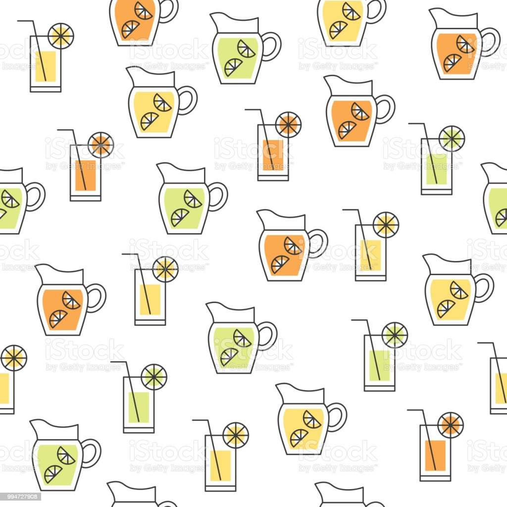 Fruit Juice Such As Lemon Lime Orange Beverage Summer Theme Seamless Themed Circuit Board Drawing Vector Clipart Illustration Pattern For