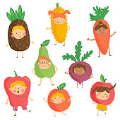 vector set of cute characters, funny children wearing fruit and vegetable costumes