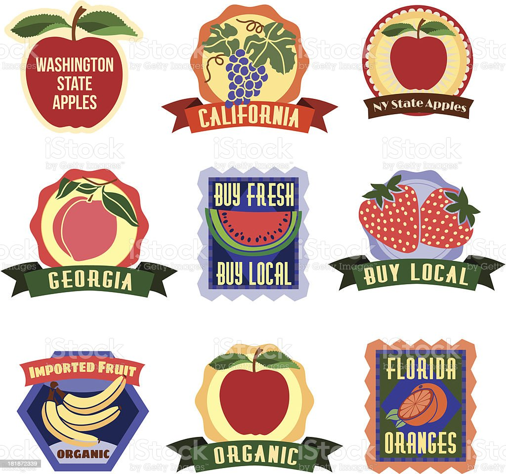 fruit labels and stickers royalty-free stock vector art