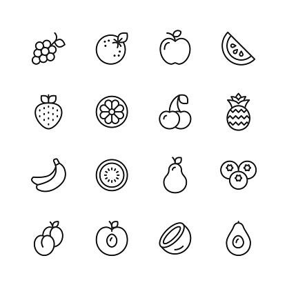 Fruit Line Icons. Editable Stroke. Pixel Perfect. For Mobile and Web. Contains such icons as Watermelon, Orange, Banana, Pear, Pineapple, Grapes, Apple.