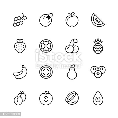 16 Fruit Outline Icons.