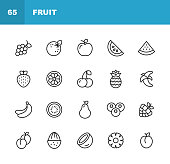 20 Fruit Outline Icons.