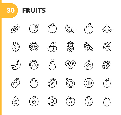 Fruit Line Icons. Editable Stroke. Pixel Perfect. For Mobile and Web. Contains such icons as Watermelon, Orange, Banana, Pear, Pineapple, Grapes, Apple, Blueberry, Strawberry, Peach, Coconut, Mandarin, Pineapple, Fruit, Healthy Lifestyle, Vegan, Eating.