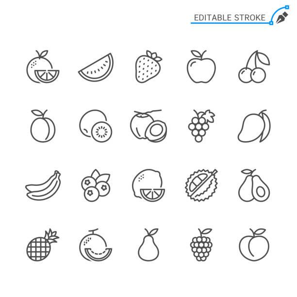 illustrazioni stock, clip art, cartoni animati e icone di tendenza di fruit line icons. editable stroke. pixel perfect. - mela