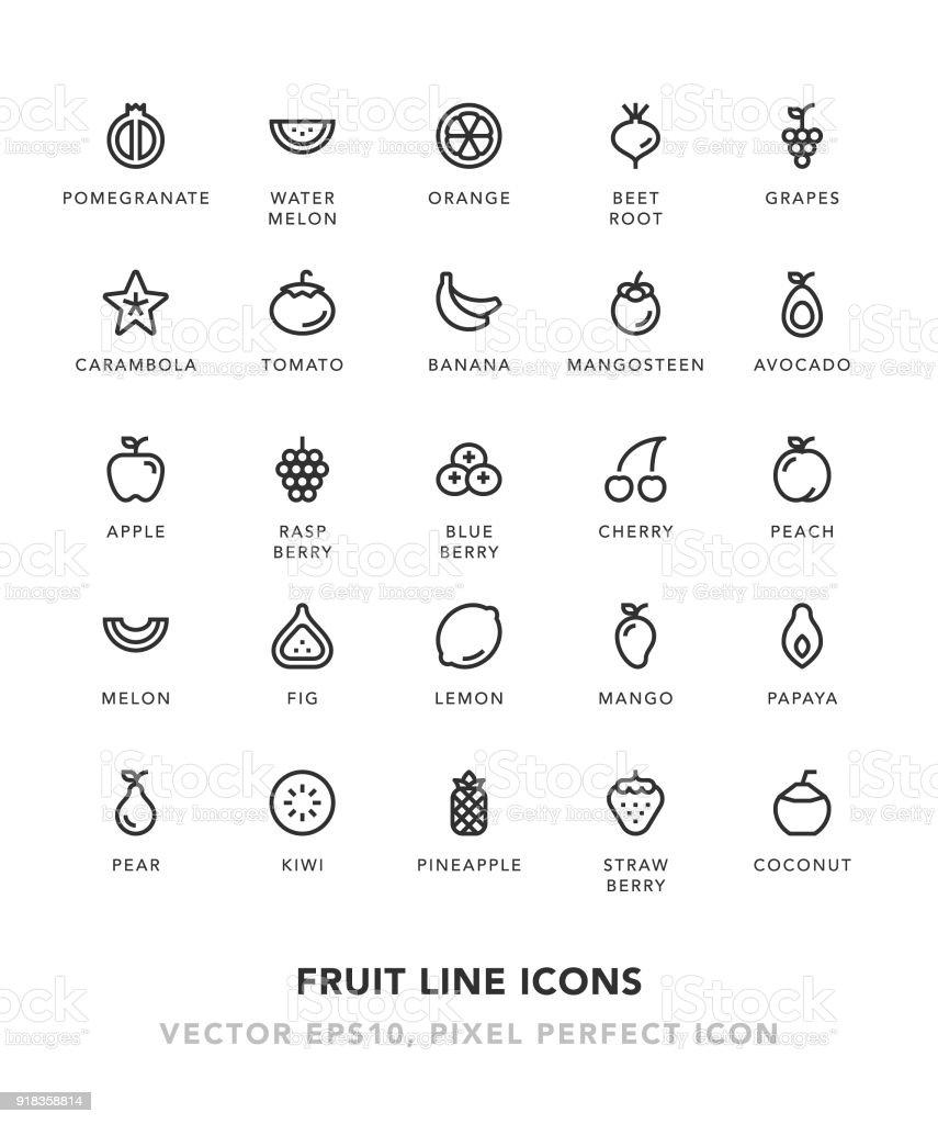 Fruit Line Icons vector art illustration