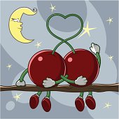 Two cherries are on the romantic date under the starry night sky